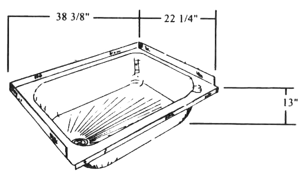 bath tub 38 3  8 x 22 1  4 fits el dorado