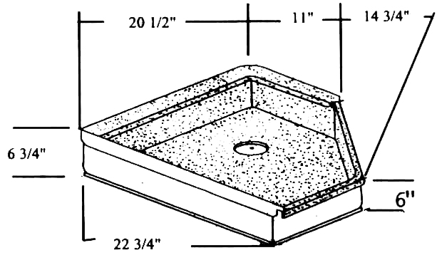 Shower Pan 22 3/4 X 20 1/2 X 14 3/4 Neo Angle Fits Nomad Model Number:  01 437. Price $586.24