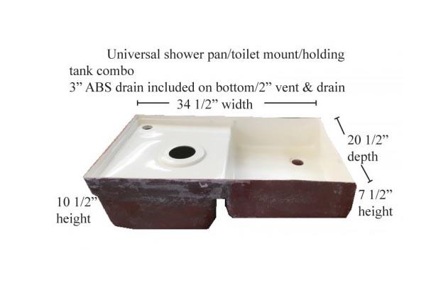 Fiberglass Shower Pan Toilet Mount Combo 34-1/2 x 20-1/2