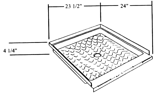 Shower Pan 24 X 23 1/2 Fits Kit Companion Model Number: 01 56. Price $586.24
