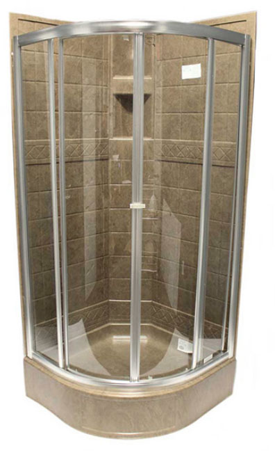 36 Quot Round Shower Door Brushed Nickel Clear Rv Windows