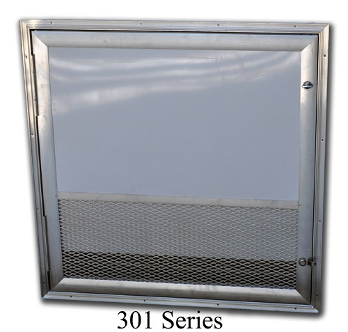 301 Series square corner welded RV Battery access door with expanded metal