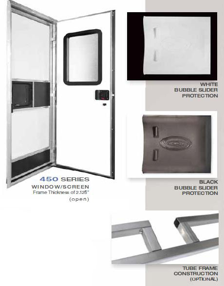 RV entry door with latch and screen